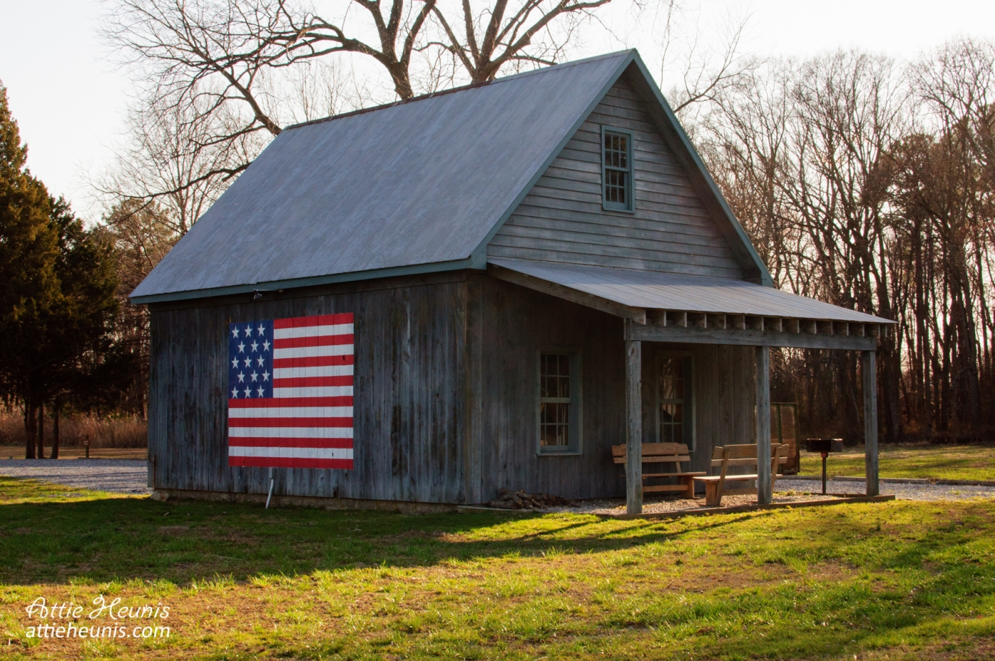 USA flag on cabin